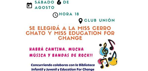 afiche evento desfile a beneficio - education for change y biblioteca